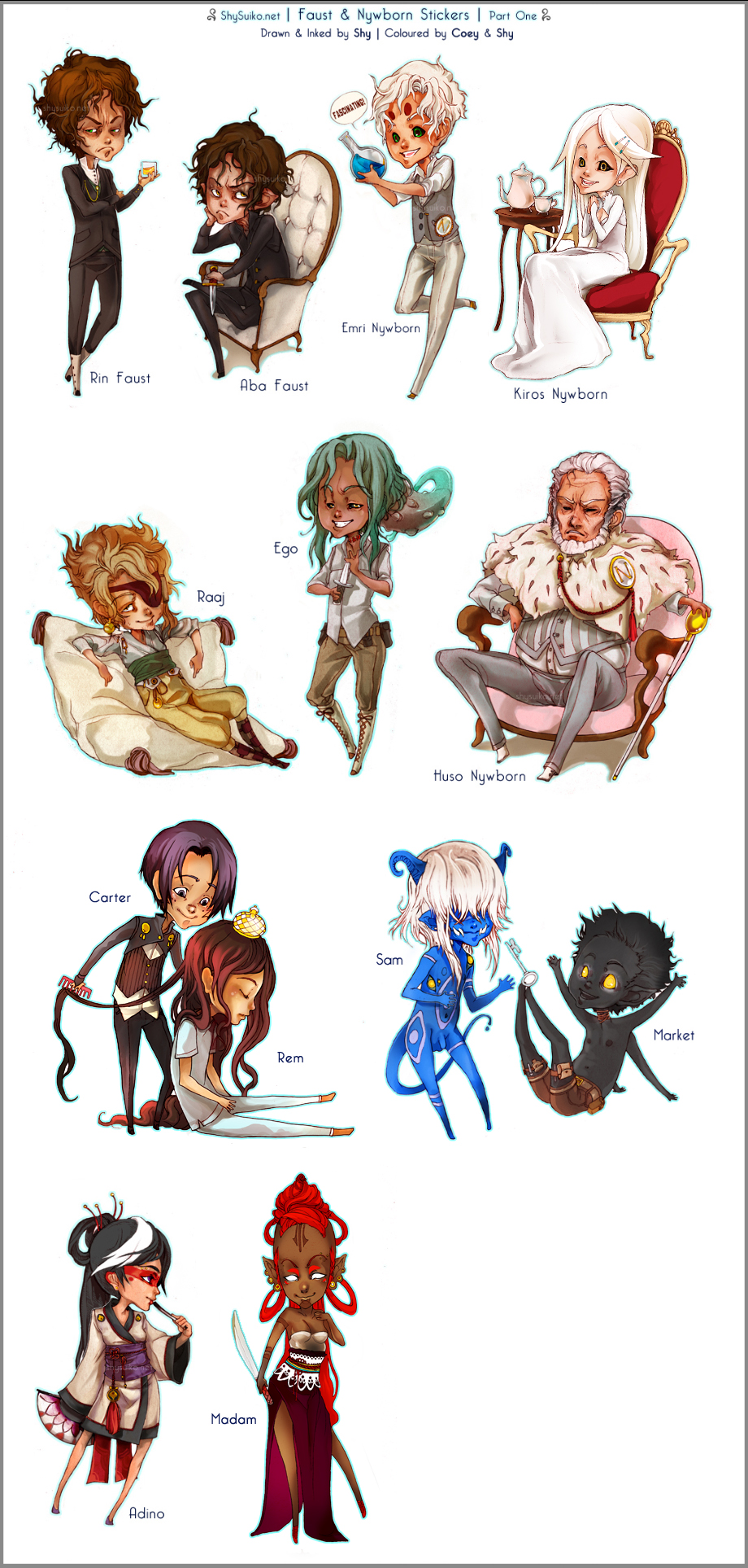 All characters copyright both Coey and Shy unless stated otherwise.
